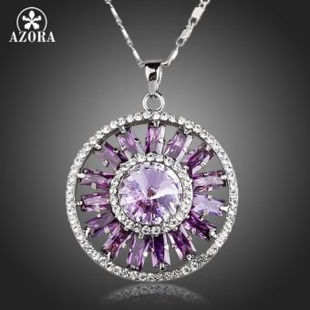 Harga Shining Ferris wheel Purple Cubic Zirconia Round Pendant Necklace TN0138 - intl