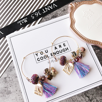 Harga Korea Korean-style Posey Mia crystal gem cloth flowers Five Angle Star tassel hollow metal earrings ear ring female