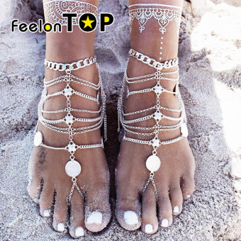Harga Feelontop Ethnic Indian Style Multilayers Silver Plated Anklets Chain Jewelry for Ladies