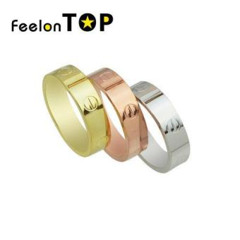 Harga Feelontop Fashion Copper Plating Band Fingers Rings for Ladies(gold) - intl