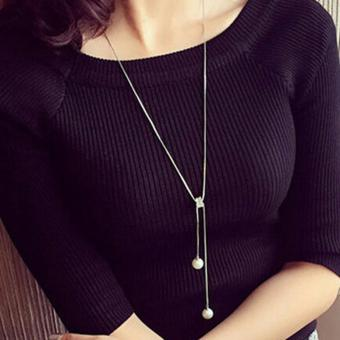 Harga Feelontop Fashion Double Pearl Long Chain Sweater Necklaces - intl
