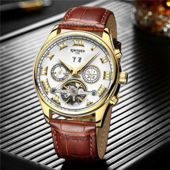 Harga KINYUED Brand Tourbillon Mechanical Watch Men Stainless White - intl