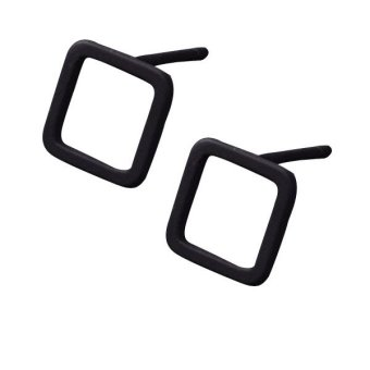 Harga European Minimalist Series of Geometric Square Ear Stud Jewllery Black