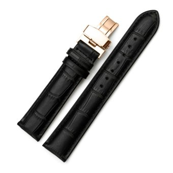 iStrap 19mm Calf Leather Watch Band Replacement Strap W/ Rose Gold Steel Deployant Buckle Black