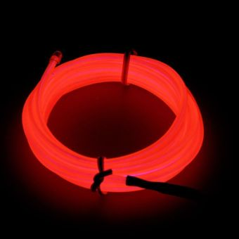 Harga 3M LED Light Glow EL Wire Strip Rope Tube Car Dance Party+USB Controller Red Color