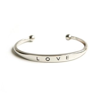 Harga Cocotina Trendy Womens LOVE Cuff Bangle Bracelet Jewellery – Silver