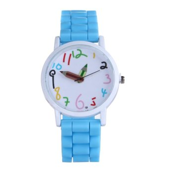 Harga Cartoon Pencil Pointer Digital Silicone Student Watch (Sky Blue)