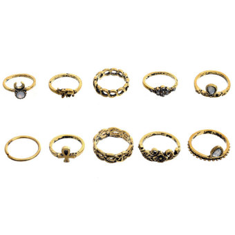 Harga Retro national wind 10 sets of combination ring (gold)