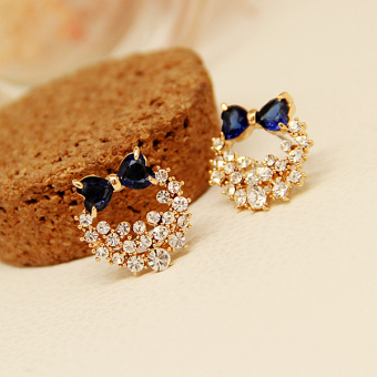 Harga Korean-style crystal bow earrings Korean sweet diamond earrings super flash red earrings female temperament Korea