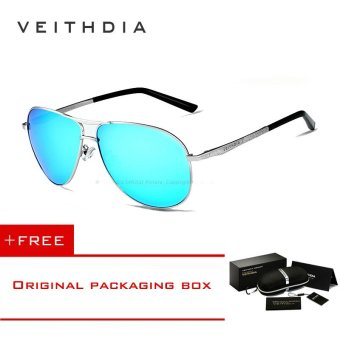 Harga VEITHDIA Brand Polarized Lens Mens Sun Glasses Oculos masculino Male Gold Sunglasses Men Fishing Outdoor Summer Style Eyewears Accessories 2556 (Blue) - intl