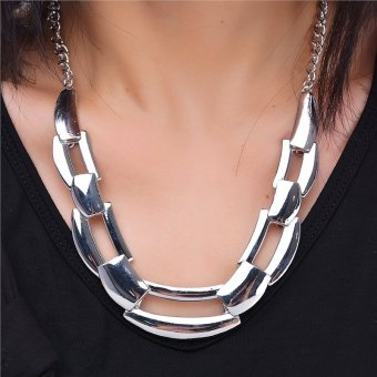Harga Trendy Unique Rectangle Interlocking Pendant Chunky Necklace (Silver) - intl