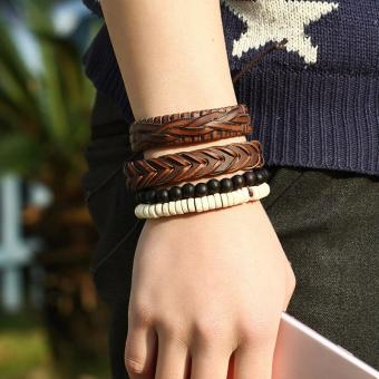 Multilayer PU Leather Bracelet Beads Weave Cuff Bracelets Bangle - intl