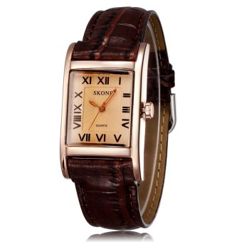 Harga SKONE Women Luxury Fashion Casual Quartz Watch Roman Number Square Dial Leather Wristwatches gold brown
