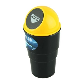 NEW car garbage can Car Trash Can Garbage Dust Case Holder Bin Yellow - intl