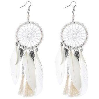 Harga Luxury National Style Feather Round Mesh Design Earrings for Ladies - intl