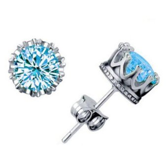 Harga 925 Silver Crown Stud Earrings Jewellry For Women and Men CZ Diamond Crown Wedding Stud Earring Fashion Jewelry 0055WH(Export)