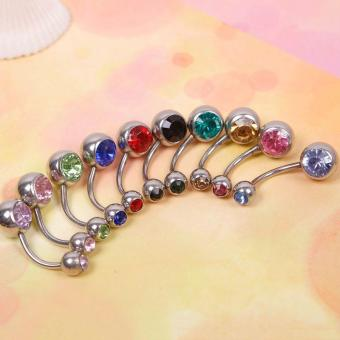 Harga BUYINCOINS 10pcs Rhinestone Ball Navel Belly Button Bar Ring Body Jewelry Piercing