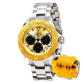 Harga INVICTA Speedway Men 48mm Case Silver Stainless Steel Strap Black, Gold Dial Quartz Watch 22398 w/ Impact Case - intl