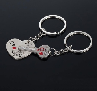 "Harga ""I Love You"" Heart & Key Couple Key Chain Ring Keyring Keyfob Lover Gift Valentine's Day - intl"