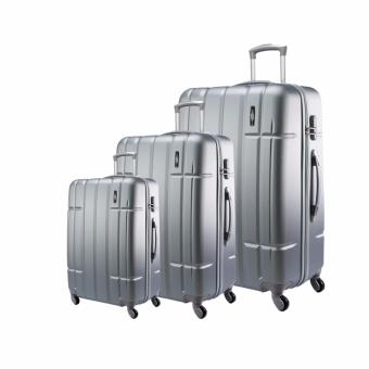 Harga Jean Francois Hard Case 4 Wheels Spinner Light Weight (20+24+28) Luggage - JTH5926 (Silver)