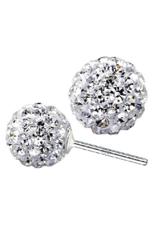 Harga 925 Sterling Silver Crystal Ball Stud Earrings