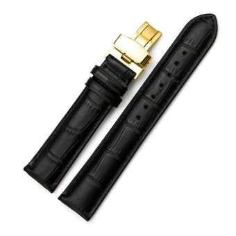 iStrap 20mm Calf Leather Watch Band Replacement Strap W/ Golden Tone Steel Deployant Buckle Black