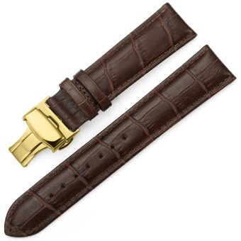 iStrap 18mm Genuine Leather Strap Butterfly Deployment Buckle Watch Band for Golden Tone Cases Brown