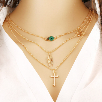 Harga Multilayer Gold Plated Chain Leaf Cross Eye Shaped Pendants Necklace for Women