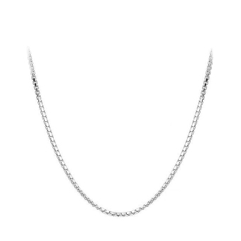 Harga Trendy 925 Solid Sterling Silver 1mm Box Chain Necklace - intl