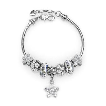 Enchanted Flower Charm Bracelet (White) - Crystals from Swarovski® Price in Singapore