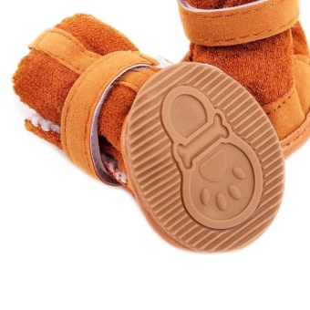 Cute Chihuahua Dog Shoes Puppy Warm Boots Shoes color:Brown size:M - intl