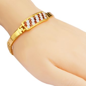 Crystal Cubic Zirconia 18k Gold Plated Bracelet Clasp Bangle for Lady - intl