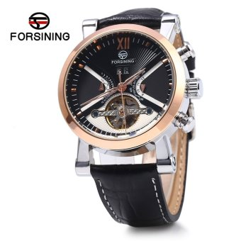 Harga Forsining Male Tourbillon Automatic Mechanical Watch Leather Strap Calendar Wristwatch - intl