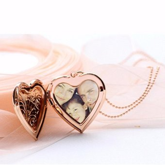 Harga Gold Heart Shape Locket Pendant Necklace Gold Gift Photo Insertable New Gold - intl