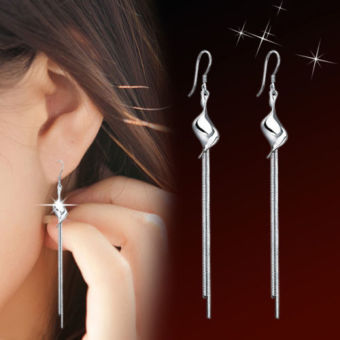 Harga Silver plated Twisted Pieces Tassel Ear Stud Earrings Jewelry - intl