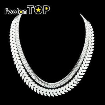 Feelontop Punk Rock Double Layers Chunky Chain Necklace for Women