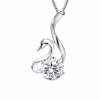 Harga Fancyqube Charming Jewelry Accessories Rhinestone Inlaid Swan Shaped Woman Pendant Necklace Without Chain Color White NL-0677 - intl