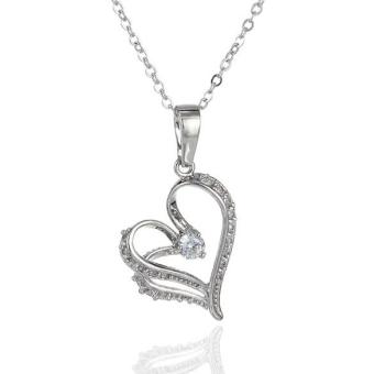 Harga Gorgeous Heart Shape Pendant Necklace Crystal White Gold Plated