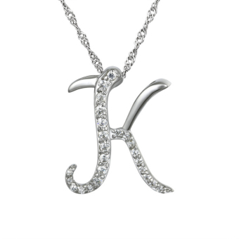 Harga Alloy Initial Pendant Necklace 25 Inches Long Letter K