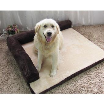 Harga Luxury Dog Bed Sofa Dog Cat Pet Cushion for Big Dogs Washable Nest Cat Litter Teddy Puppy Mat Kennel Pet House ( L - Coffee) 90X75X17CM - intl