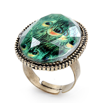 Harga Cyber Retro Bronze Peacock Feather Pattern Plastic Green Stone Ring Adjustable (Green)