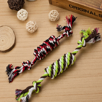 Harga Lovely Puppy Dog Pet Chew Toy Cotton Braided Bone Rope Color Chew Knot - intl