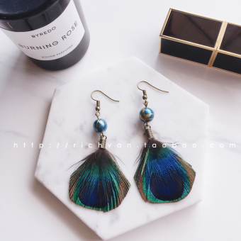 Harga ! Seaside resort national wind Posey Mia color Peacock feather tassel long section of temperament earrings accessories