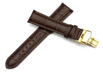 iStrap 20mm Genuine Leather Strap Replacement Watch Band W/ Golden Tone Steel Deployment Clasp Brown