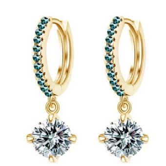 Harga Okdeals Women 18K Plated Rhinestone Hoop Earrings Gold &Sea Blue