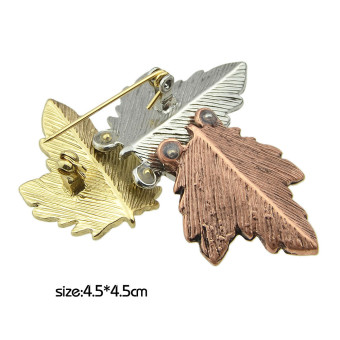 Kayshine Fashion Multicolors Maple Leaf Shape Metal Brooches for Women - intl