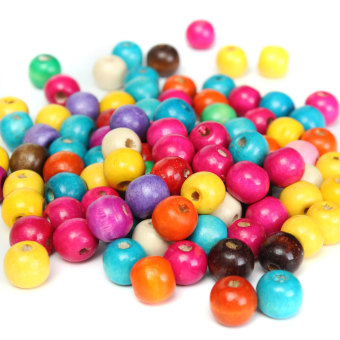 Harga 100 WOODEN beads pack 12mm