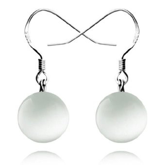 Harga Okdeals 925 Silver Circle Opal Drop Dangle Hook Earrings(White)