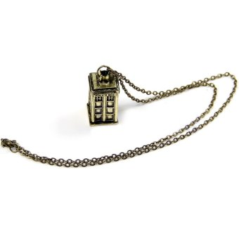 Harga 1pcs Fashion Doctor Who 3D Police Box Pendant Long Chain Necklace- - intl