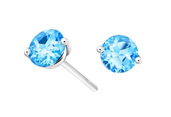 Harga TAKA Jewellery Spectra Blue Topaz Gemstone Earrings (9K White Gold)